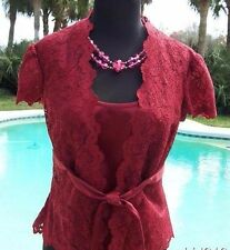 Cache $158 SHEER LACE OUTER LOT 2 SATIN CAMI Top + Jacket NWT S/M/L SELF-BELT