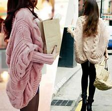 Batwing Top Poncho Chic Womens Knitwear Cardigan Long Sleeve Knit Cape Sweater