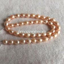 Pink Oval or Rice Cultured Freshwater Pearls Loose Beads Various Sizes 15""