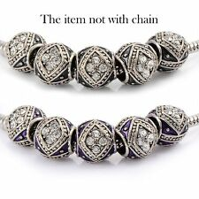 5pscBlack Enamel Crystal European Charms Charm Beads fit european bracelet