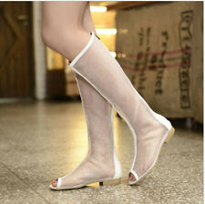 Retro Womens Open Toe Flat Heel Back Zip Net Mesh Knee High Boots Lady Sandal YE