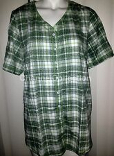 Essentials Ladies Plus Size Short Sleeve Green Plaid Design Blouse Top Shirt-NEW