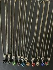 NEW - SILVER BOX CHAIN NECKLACE WITH COLOURED STONE PENDANT - VARIOUS COLOURS