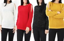 New Women Cold Shoulder Lurex Knit Jumper Ladies Cut Out Sleeve Knitted Top 8-14