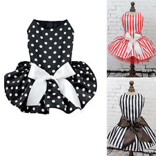 Small Pet Dog Princess Polka Dot Ribbon Stripe Dress Clothes Shirt Party Appare