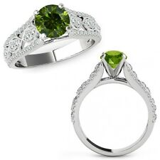 1 Ct Green Diamond Lovely Solitaire Halo Anniversary Ring Band 14K White Gold