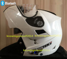 White Bluetooth Motorcycle Motor Cross Helmet Dual Visor Flip Up Full Face