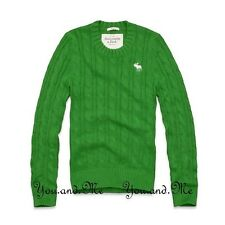 NEW ABERCROMBIE & FITCH MEN A&F Phelps Trail Cable Knit Sweater Green M-XL $98