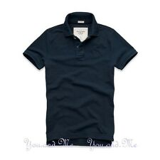 NEW ABERCROMBIE & FITCH for MEN A&F Beaver Mountain Cotton Polo Shirt Navy M-XL
