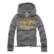 NEW ABERCROMBIE & FITCH KIDS A&F Boys Vintage Varsity Hoodie Pullover Grey M-XL