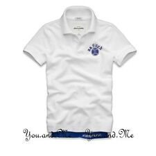 NEW ABERCROMBIE FITCH KIDS A&F Boys Cotton Message Graphic Polo Shirt White S-L