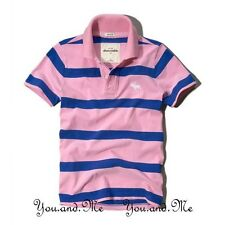 NEW ABERCROMBIE & FITCH KIDS A&F Boys Cotton Striped Polo Shirt Pink/Blue M L XL