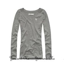 ABERCROMBIE & FITCH KIDS A&F Girls Solid L/Sleeve V-Neck Tee T Shirt Gray M L XL