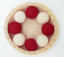 SLB394 RED & CREAM CHRISTMAS GIFT PARTY COTTON BALL STRING LIGHTS WEDDING