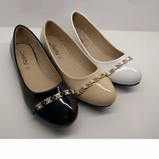 WOMENS LADIES PATENT SHINY FORMAL WORK CASUAL BALLARINAS FLATS PUMPS SHOES SIZE
