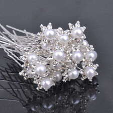 Faux Pearl with Clear Crystal Hair Pin Clips Women Bridal Hair Wedding Jewelry