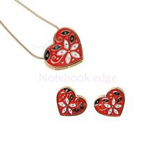 Colorful Lovely Heart Hollow Flower Pattern Chain Necklace Valentines Day Gift