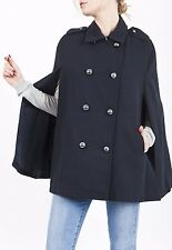 TOPSHOP Navy Double Smart Breasted Cape Poncho Coat Jacket Size 8-14