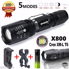 G700 X800 CREE XML T6 LED Zoom Flashlight Lumitact Torch +Battery Charger Holder