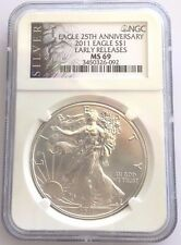 2011 AMERICAN SILVER EAGLE-25th Anniversary NGC MS69-Early Release