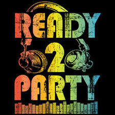 Ready To Party Neon Colors Headphones Music Funny T-Shirt Tee