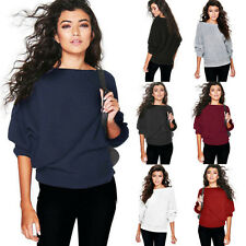 Womens Off the Shoulder Chunky Knit Jumper Ladies Oversized Baggy Sweater Tops