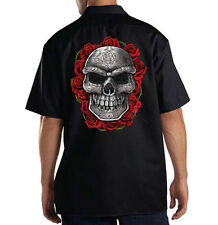 Dickies Mechanic Work Shirt Ornate Grey Skull & Red Roses