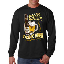 Save Water Drink Beer Alcohol Drinking Funny Long Sleeve T-Shirt Tee