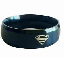 Mens Womens Unisex Superman Beveled Black 8mm Stainless SteelRing Various Sizes