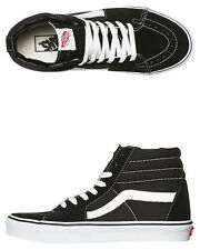 Vans Shoes Sk8 Hi Black White Suede Canvas Mens Classic Skate Sneakers FREE POST
