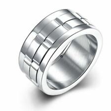 Mens Womens Unisex Silver Brick Bevelled 10mm Stainless SteelRing Various Sizes