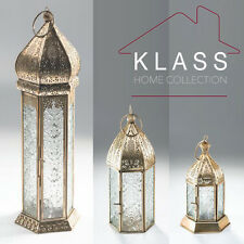 MOROCCAN FRENCH STYLE AGED BRASS PATTERNED GLASS LANTERN TEALIGHT CANDLE HOLDER