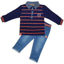 Baby Boys 2PC Outfit Striped Polo Shirt Jeans Set Navy Orange By Honour & Pride