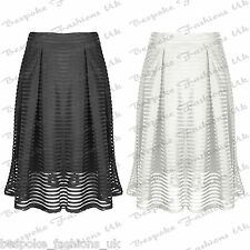 Ladies Women's A Line Pleated Flare Skater Mesh Stripe Layer Vintage Midi Skirt