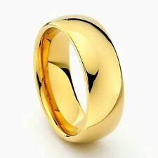 8mm Men Or Ladies Tungsten Carbide Shiny Polished Gold Wedding Band Ring