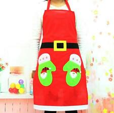 Christmas Kitchen Snowman Apron Cooking Baking Chef Red Applique Apron