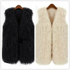 Women Fashion Faux Fur Soft Warm Long Vest Coat Outerwear Tops Waistcoat Jacket