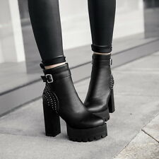 Women's Block High Heels Platform Buckle Strap Rhinestone Ankle Boots Punk Shoes