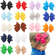 2PCS Kids Baby Girls Toddler Hair Bowknot Alligator Hair Clips Bow Hairpins