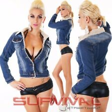 Womens NEW Sexy Warm Denim Jacket with Lining Blue Vintage Washed Size S M XL