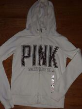 "VICTORIAS SECRET PINK LEOPARD ""PINK"" FULL ZIP FUNNEL NECK HOODIE NWT"