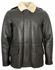Men's Brown Shearling Sheepskin World War 2 Leather Flying Aviator Jacket