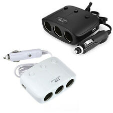 DC 12/24V 3-Ports Car Cigar Lighter Socket Splitter+2 USB Power Adapter Charger