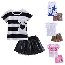 Baby Girls Outfit Kids Fashion Striped Star Print T-shirt Top + Skirt Shorts Set
