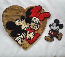"XL Mickey &  Minnie Mouse Heart Disney CARTOON Sequin 10"" Sew-On Patch Applique"