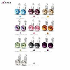 White Gold Filled Womens Round Gemstone Hoop Earrings Free Shipping Statement