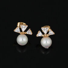 Korean Jewelr 18K Rose Gold Plated Clear CZ Charm Pearl Stud Earrings