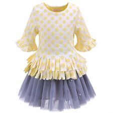 Girls Party Outfit Kids Flower Embroidered Tassel Top +Grey Tutu Tulle Skirt Set