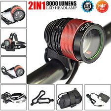 2in1 8000LM CREE T6 LED Zoomable Focus Bike Bicycle Light Headlamp Head Torch