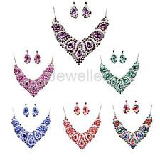 Women Wedding Party Rhinestone Pendant Necklace Earrings Statement Jewelry Set